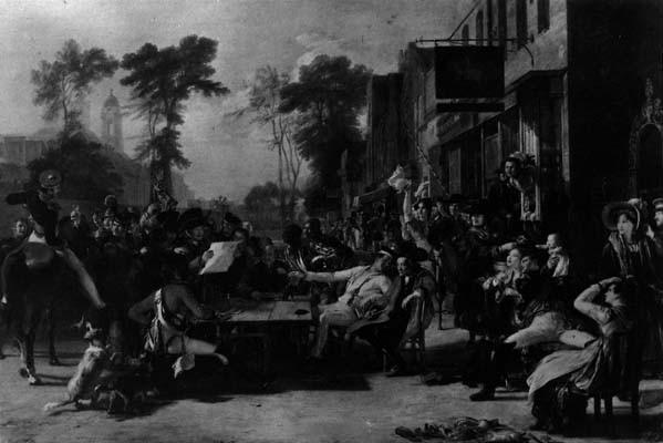 Les invalides de Chelsea écoutant la lecture de la victoire de Waterloo