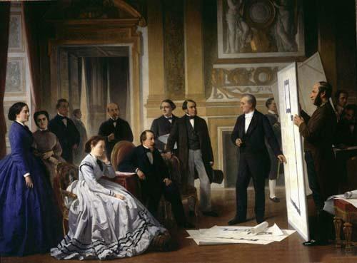 Présentation du projet d'achèvement du Louvre par Visconti à l'Empereur Napoléon III et à l'Impératrice, 1853
