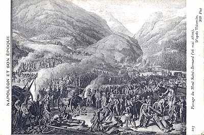 The crossing of the Great Saint Bernard Pass