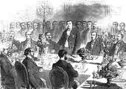 Table d'honneur au banquet offert à M. de Lesseps par les actionnaires du canal de Suez, le samedi 11 février, au Palais de l'Industrie.