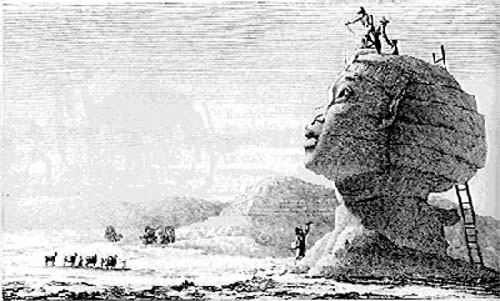 Le sphinx mesuré par les savants près des Pyramides