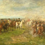 Cuirassiers rendant les honneurs à l'Empereur Napoléon Ier et à son état-major.