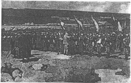 Le maréchal Joffre décorant un drapeau sur le front. Peinture par Dewambez
