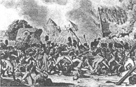 Engagement à la baïonnette dans Ligny en feu, d'après une gravure allemande anonyme.