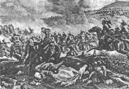 Chute de Blücher au cours d'une charge de cavalerie. Gravure anonyme.