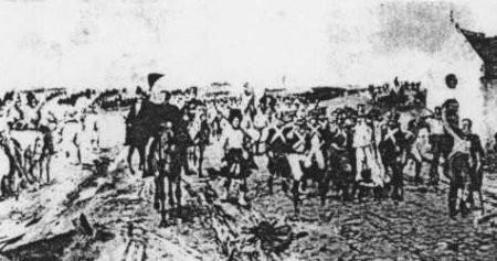 Retraite de Wellington des Quatre-Bras à Mont-Saint-Jean. 17 juin 1815, d'après E. Crofts.