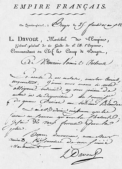 Lettre autographe du maréchal Davout, commandant en chef du camp de Bruges.