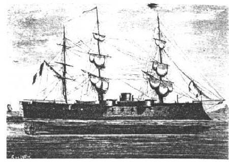 Le vaisseau cuirassé le Marengo, construit en 1865.