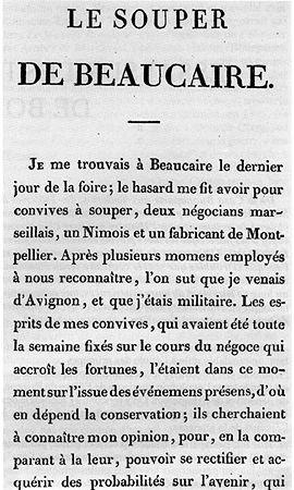 Première page du Souper de Beaucaire écrit et publié en 1793 (voir RSN 389).