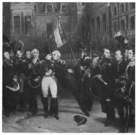 """Détail du tableau """"Les Adieux de Fontainebleau"""" par Horace Vernet. M. V. (Documentation Tallandier)."""