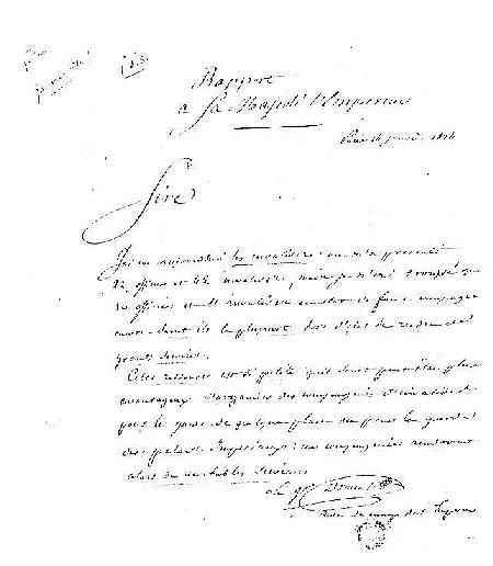 Autographe de Drouot, fac-similé d'un rapport à l'Empereur, en date du 14.1.1814