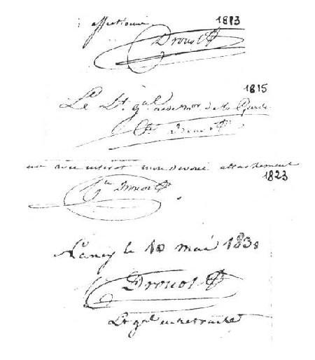 Diverses signatures de Drouot (montage)