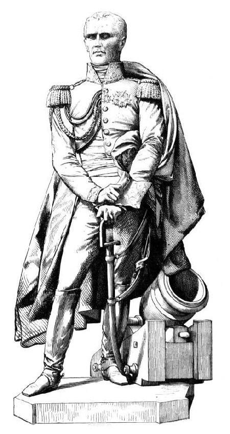 Statue du général Drouot, à Nancy, par David d'Angers. – Dessin de Chevignard