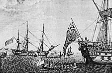 """Transfert de Napoléon du """"Bellerophon"""" à bord du """"Northumberland"""" (documentation Tallandier)."""