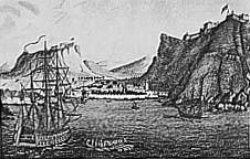 """Arrivée du """"Northumberland"""" à Sainte-Hélène. Gravure de Courvoisier-Dubois"""