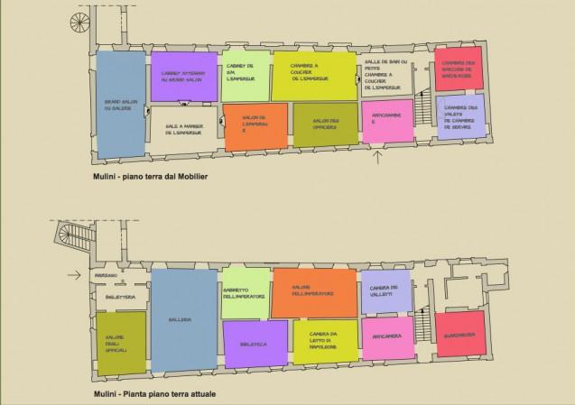 Palais d'I Mulini : comparaison plan actuel - plan d'origine