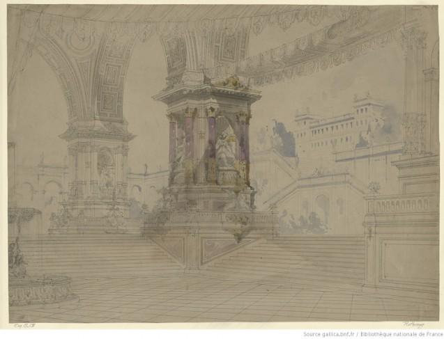 Rothomago - esquisse de décor pour le tableau 2 du prologue ou pour le tableau 4 de l'acte II - escaliers monumentaux conduisant à la terrasse d'un palais © BnF