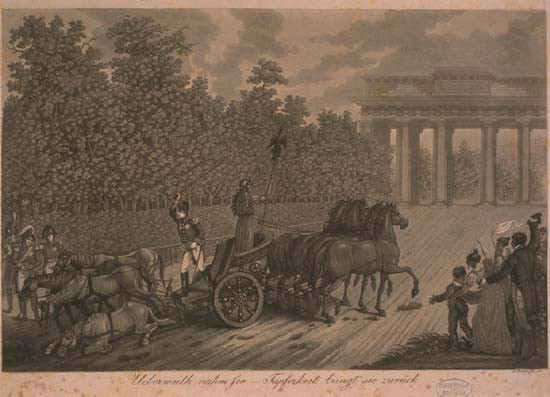 Caricature showing the return of the horses.