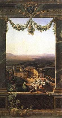 Vue panoramique du Château de Compiègne peinte par Siméon Fort en 1843 © RMN