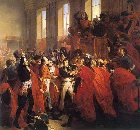 1799, le coup d'État du 18 Brumaire : le général Bonaparte prend le pouvoir > tableau de François Bouchot (1840)