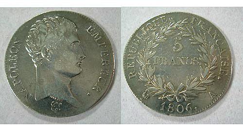 Pièce de 5 francs, Napoléon Empereur, 1806