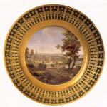 """Assiette de dessert du « Service particulier de l'Empereur » : """"Le prytanée de Saint-Cyr"""" par N.-A. Lebel"""