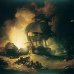 La destruction de l'Orient lors de la bataille du Nil (bataille d'Aboukir), 1er août 1798