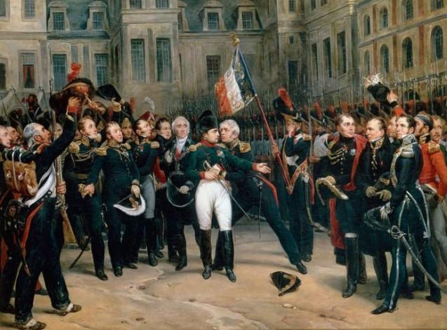 Adieux de Napoléon à la Garde impériale dans la cour du cheval-blanc du château de Fontainebleau, par Antoine Alphonse MONTFORT © Photo RMN-Grand Palais - G. Blot