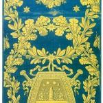 Damas bleu liseré jaune, dessin à boucliers (lampas liseré, lancé, fond satin)