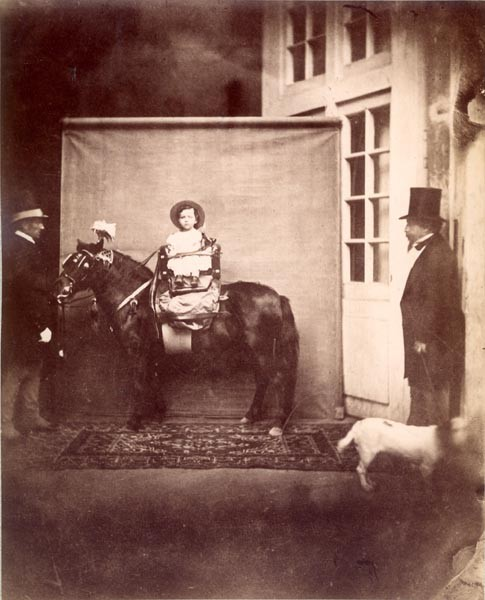 The Prince Imperial on his pony, posing for a photographer