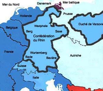 Carte De Leurope Sous Napoleon.Carte De L Europe Avec La Confederation Du Rhin 1806