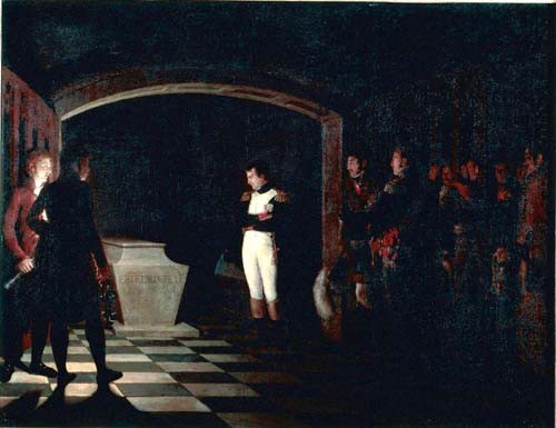 Napoleon meditating before the tomb of Frederick II of Prussia in the crypt of the Garnisonkirche in Potsdam