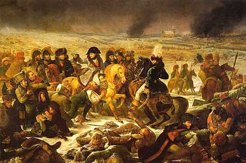 Napoleon visiting the battlefield at Eylau, 9 February, 1807
