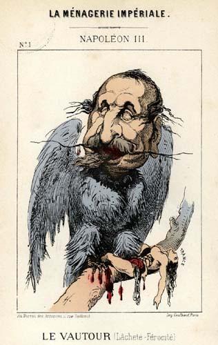 Caricature : La Ménagerie impériale. Napoléon III Le Vautour (Lâcheté – Férocité)