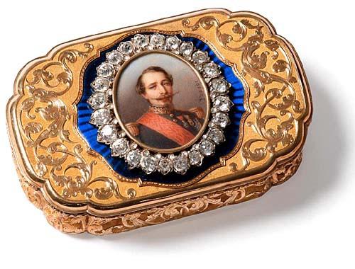Portrait de Napoléon III (miniature sur une boîte de présent)