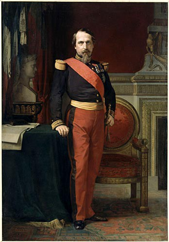 Standing portrait of Napoleon III, in the uniform of Brigadier General, in his Grand Cabinet at the Tuileries
