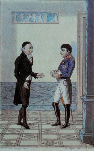 Goethe and Napoleon I meeting in Erfurt (Germany) in the governor's palace