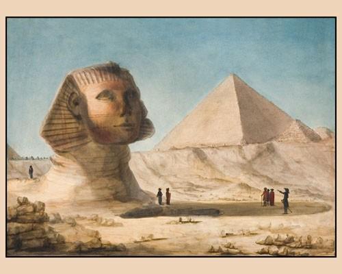Conté, Vue du sphinx et de la grande pyramide, collection baron Thénard