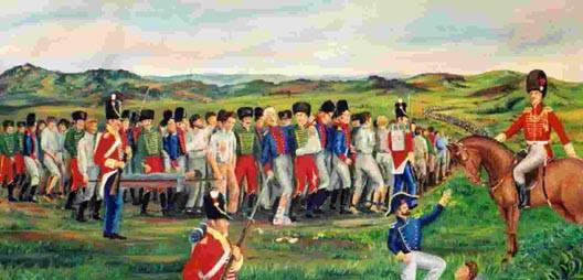 Soldats britanniques escortant des prisonniers français © DR