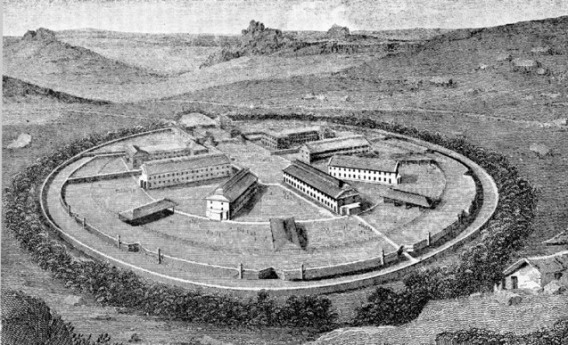 A perspective view of the original buildings (two of which were built by the French prisoners).