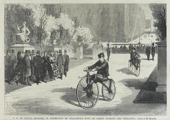 The Prince Imperial on his velocipede in the Jardin des Tuileries