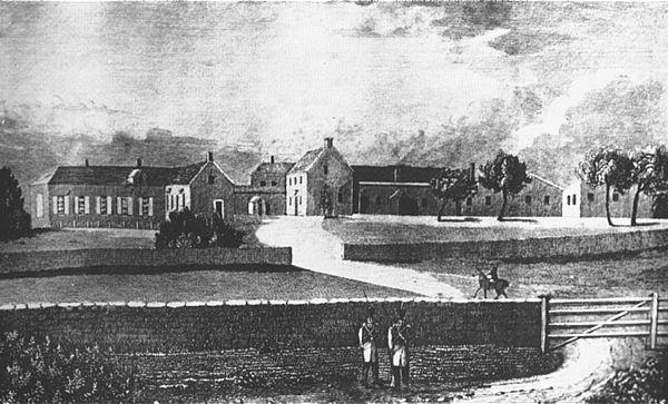 Vue de la maison de Longwood à Sainte-Hélène, gravure XIXe .