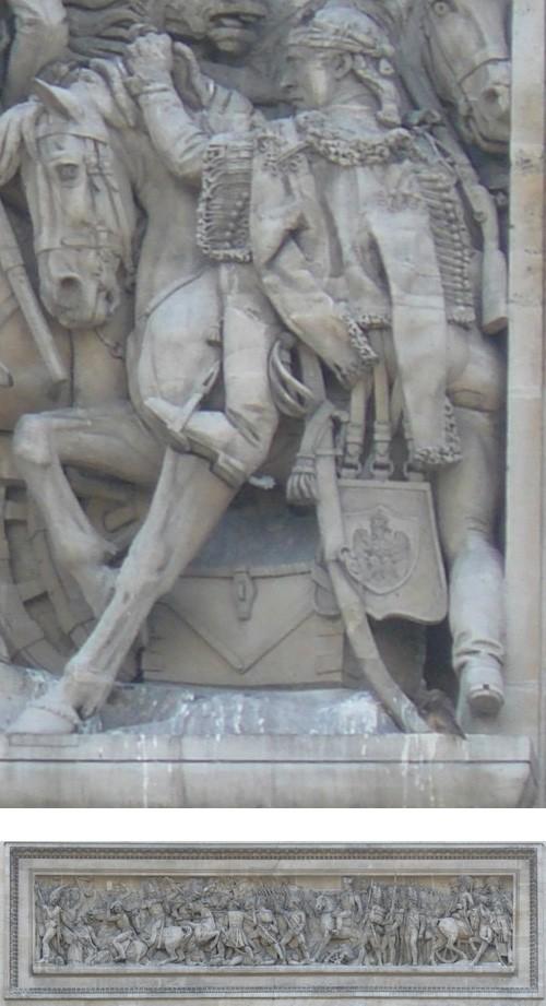 Détail du bas relief Austerlitz de l'arc de Triomphe (c) wikipédia
