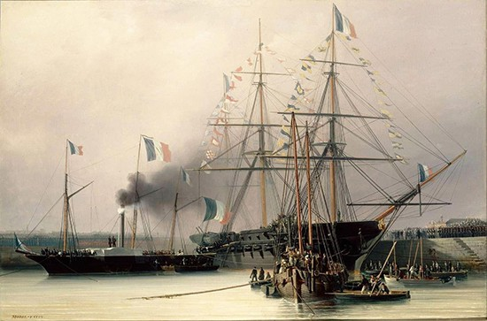 the death of bonaparte and the retour des cendres french  the coffin transshipped from belle poule to the steamship normandie cherbourg 8 1840 by leon morel fatio 1841