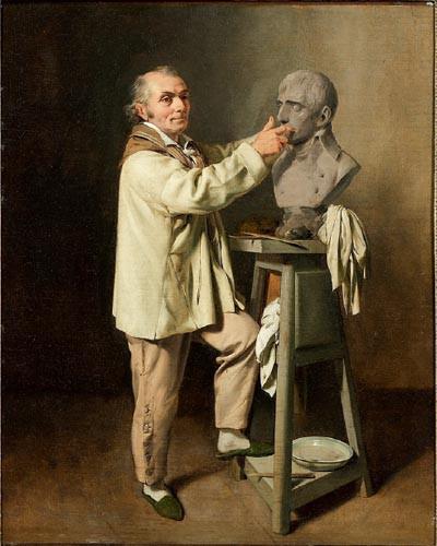 Jean-Antoine Houdon modelant le buste de Bonaparte Premier consul