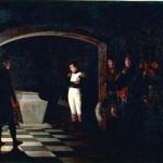 Napoléon méditant sur le cercueil de Frédéric II de Prusse dans la crypte de la GarnisonKirche à Potsdam