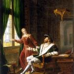 François Ier. Il montre à la reine de Navarre, sa soeur, les vers qu'il vient d'écrire sur une vitre avec son diamant : Souvent femme varie/Bien fol qui s'y fie