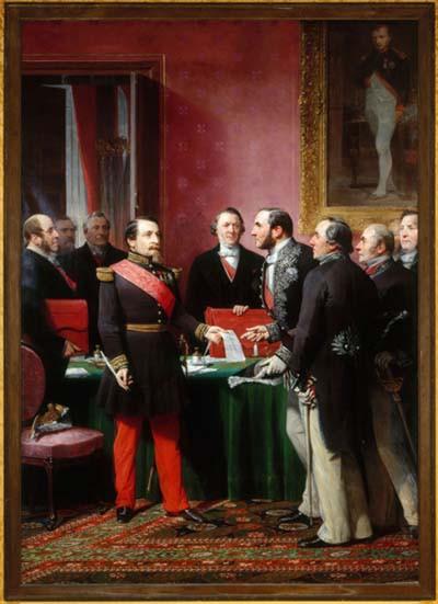 Napoléon III remettant au baron Haussmann le décret d'annexion des communes limitrophes (16 février 1859)