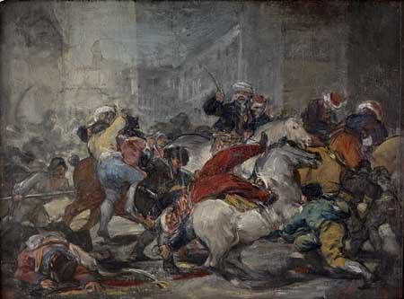 Esquisse. <i>Le 2 mai 1808 à Madrid</i>, dit aussi <i>L'Assaut contre les mamelouks à la Puerta del Sol</i>