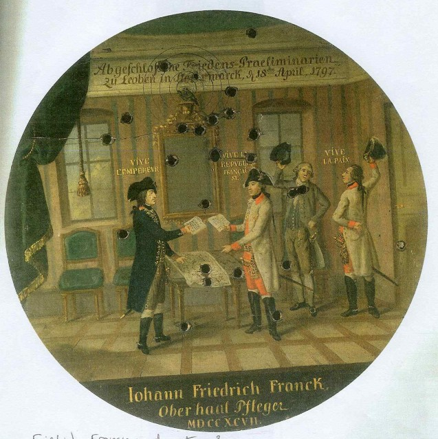 Painted Target depicting the Preliminaries of the Peace negotiations concluded at Leoben in Styria, 18 April 1797.
